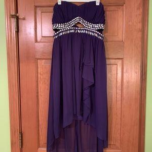 Purple strapless high-low dress, size 7 (junior)